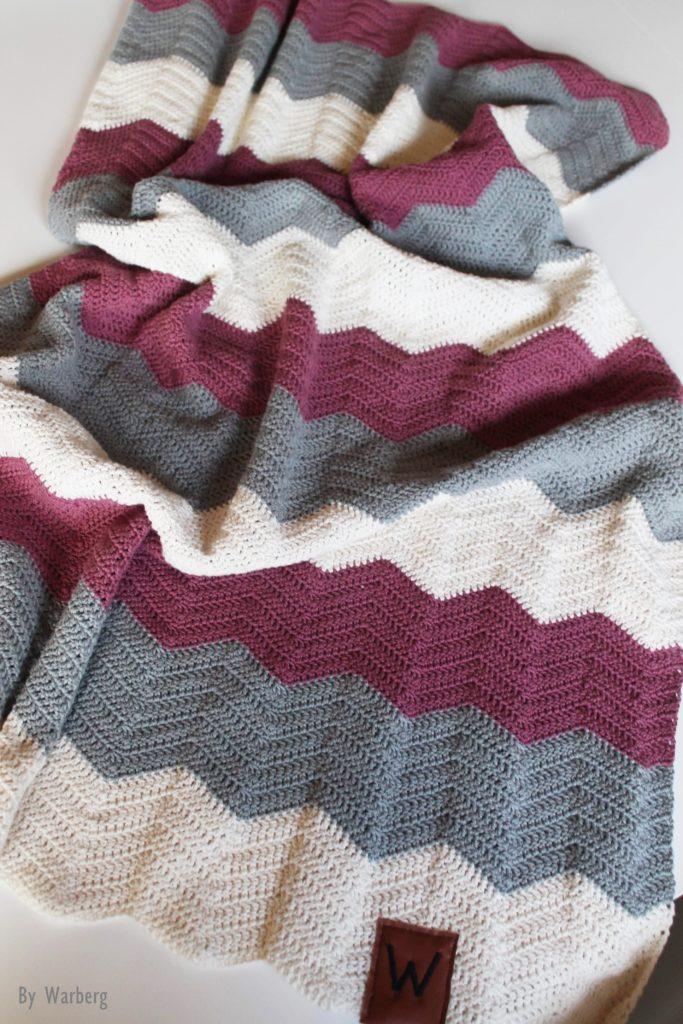 Hæklet tæppe zigzag
