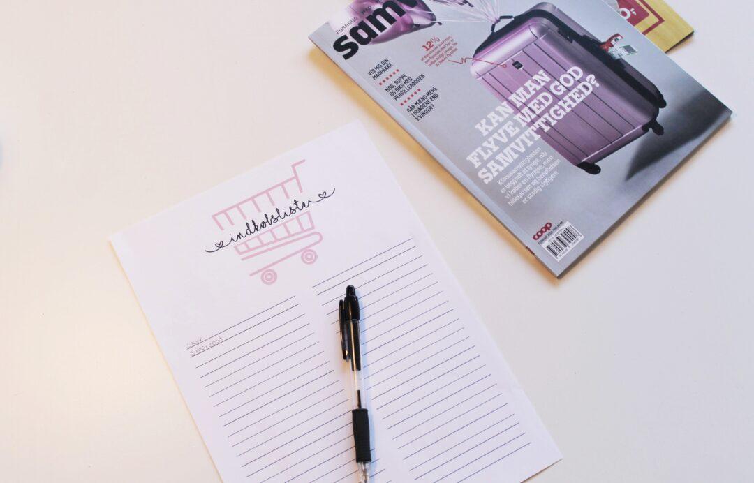 Ugeplanlægning og indkøbsliste - gratis print