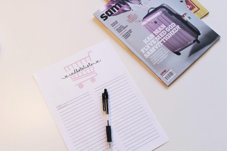 Ugeplanlægning og indkøbsliste - gratis print.